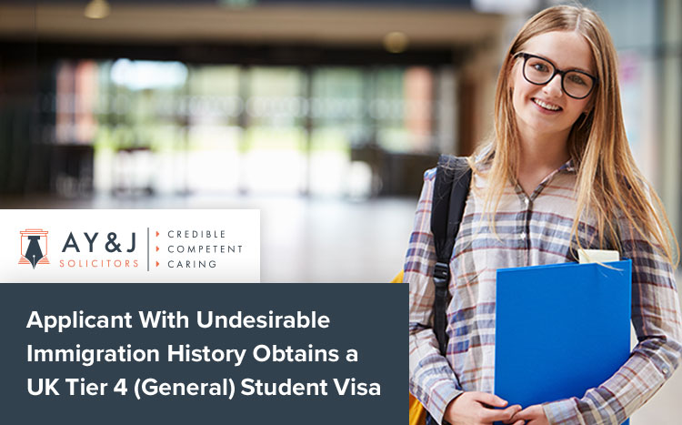 Applicant With Undesirable Immigration History Obtains a UK Tier 4 (General) Student Visa