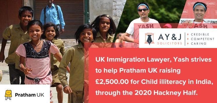 UK Immigration Lawyer, Yash Strives To Help Pratham UK Raising £2,500.00 For Child Illiteracy In India, Through The 2020 Hackney Half.